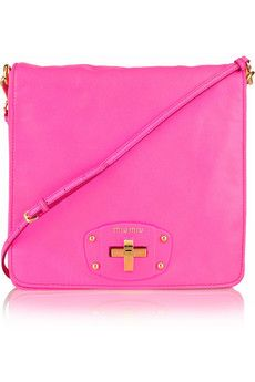Leather shoulder bag by MIU MIU