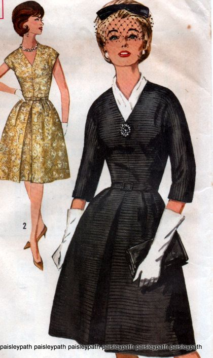 Simplicity 5238 Vintage 1960's One Piece Pleated  Dress Sewing