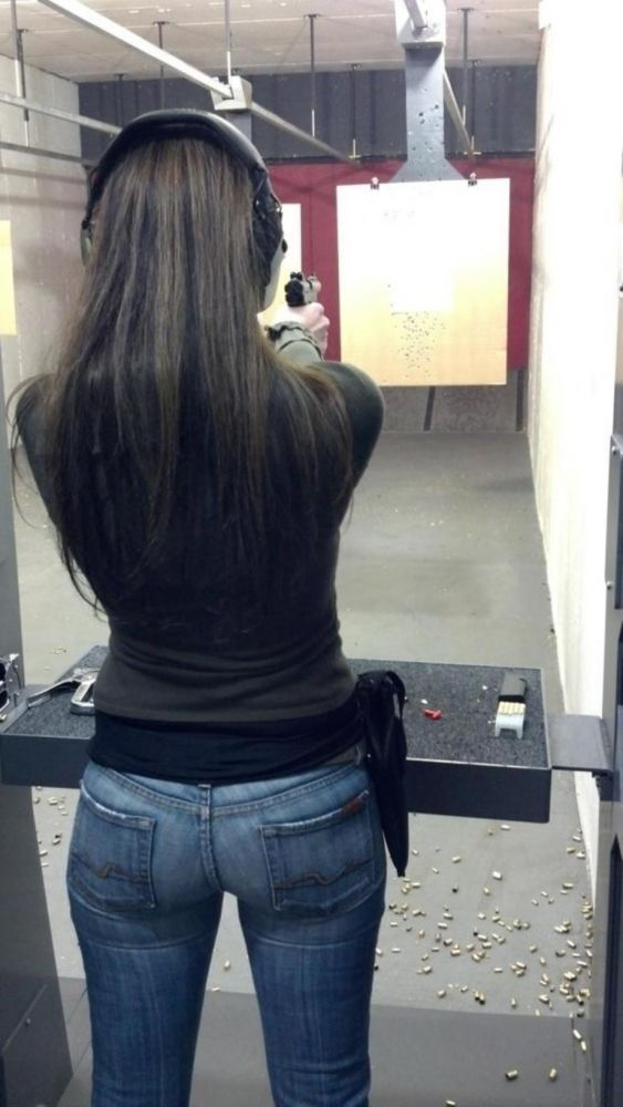 Image result for woman at a pistol range