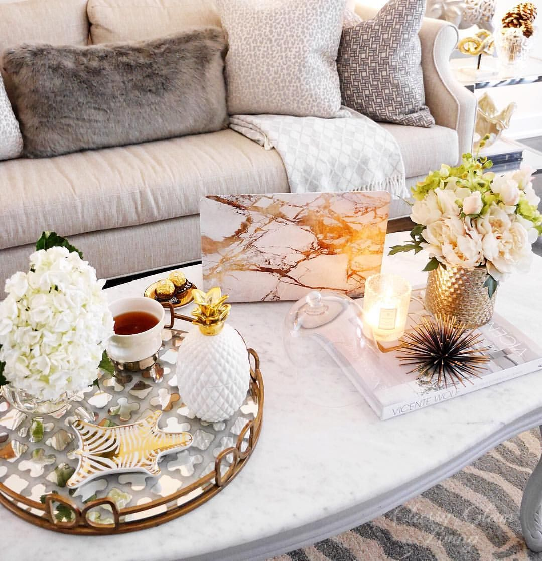 White And Gold Decor Accessories Pineapple Decor Gold Marble Laptop Case Marble Coffee Table Styl Home Decor Styles Chic Home Decor Glam Coffee Table Decor Living room table accessories