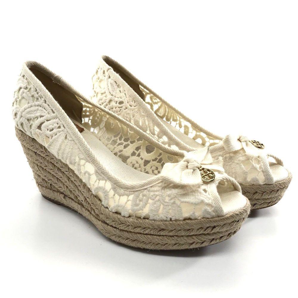 c448730f26b69c Tory Burch Size 7 Jackie Lace Espadrille Wedge Heel Peep Toe Cream Crochet  Logo