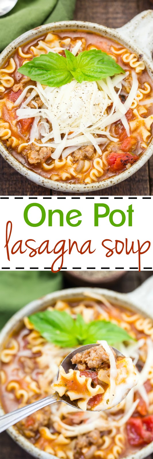 If you love lasagna, you will love this soup.  Easy to make with all that lasagna taste without all the work made in one pot!