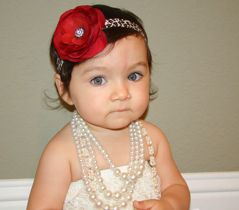 Baby headband...Deep Red leopard print flower headband ...