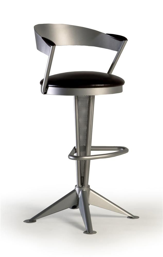 Contemporary Swivel Counter Stool w Round Upholstered Seat, Metal Frame &  Wood Armrests - Cadet