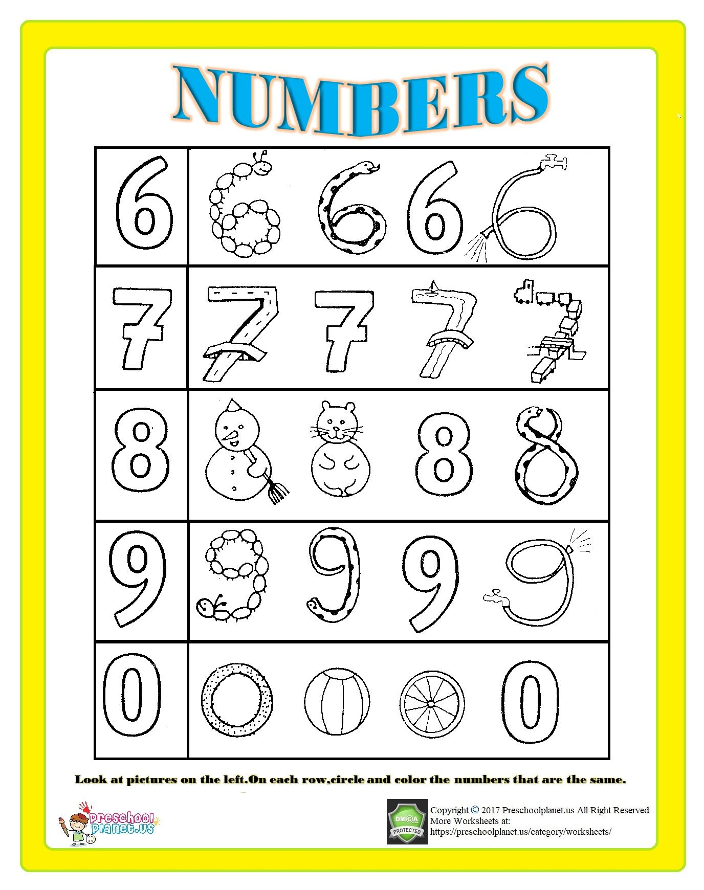 Number Worksheet For Kids