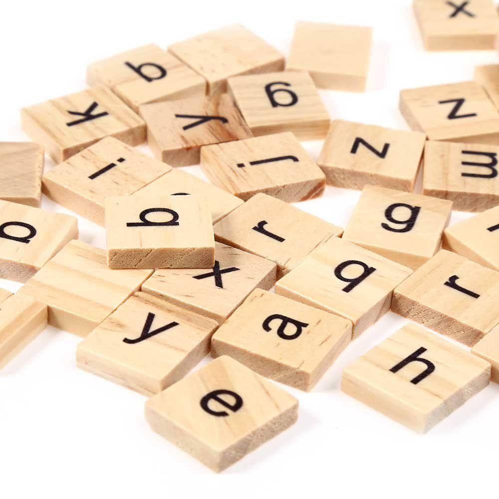 100pcs Wooden Scrabble Tiles Lowercase Letters Board Alphabet Toys ...