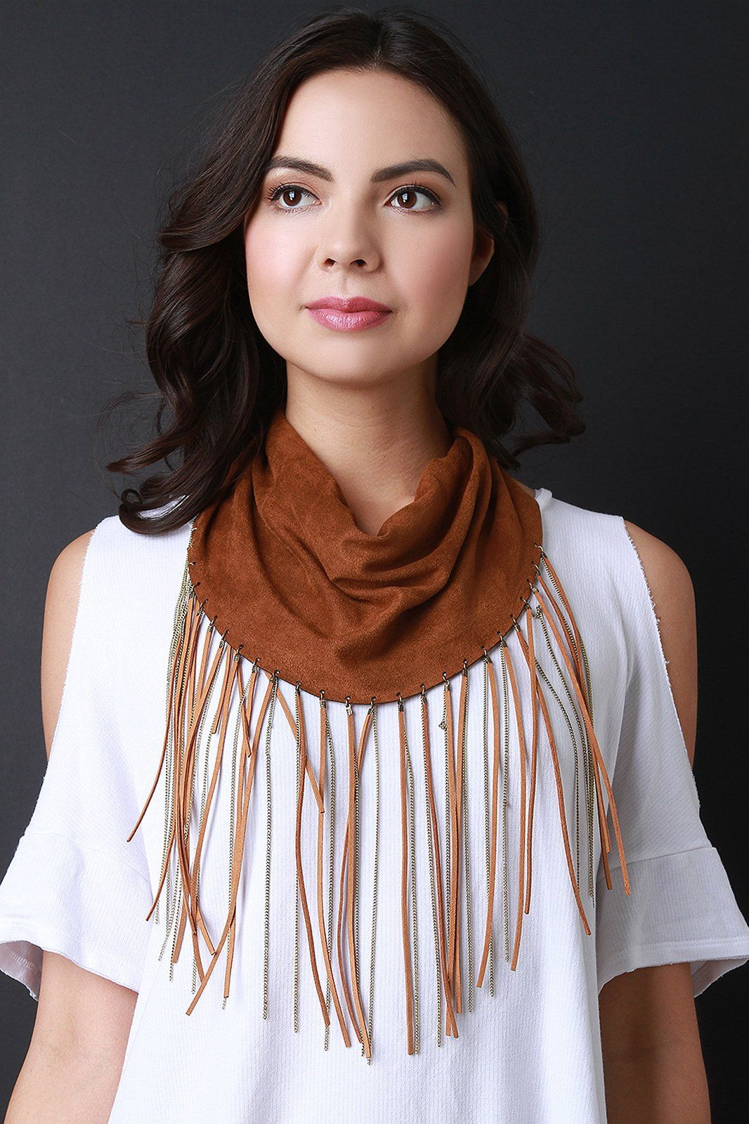 Vegan Suede Chain Fringe Scarf Fringe scarf, Fashion