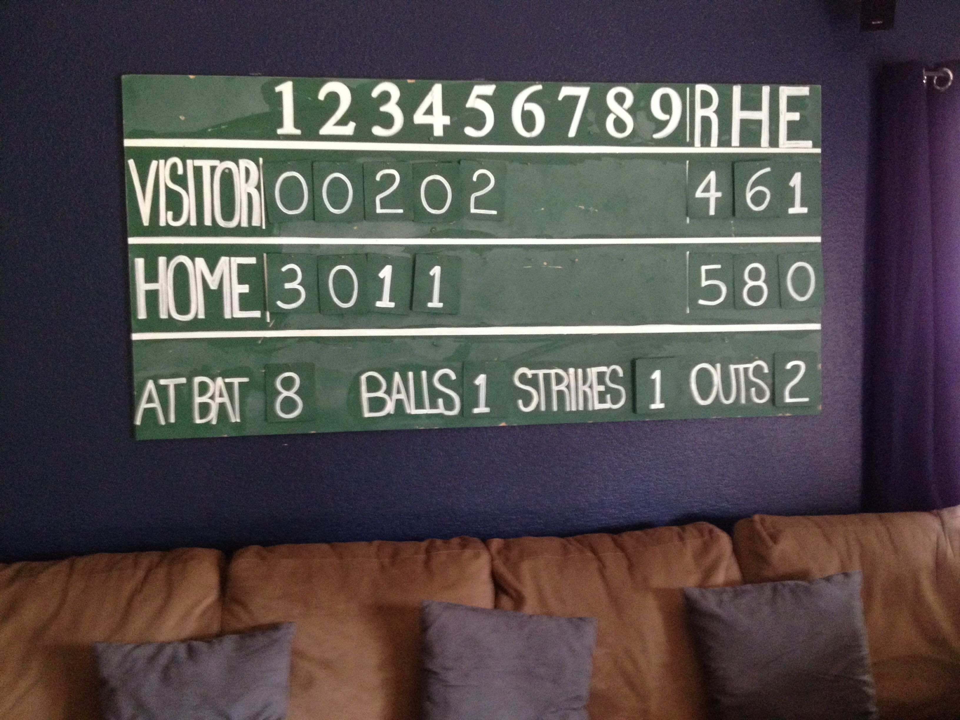 Vintage Baseball Scoreboard 4x10 MDF cut by Home Depot Painted