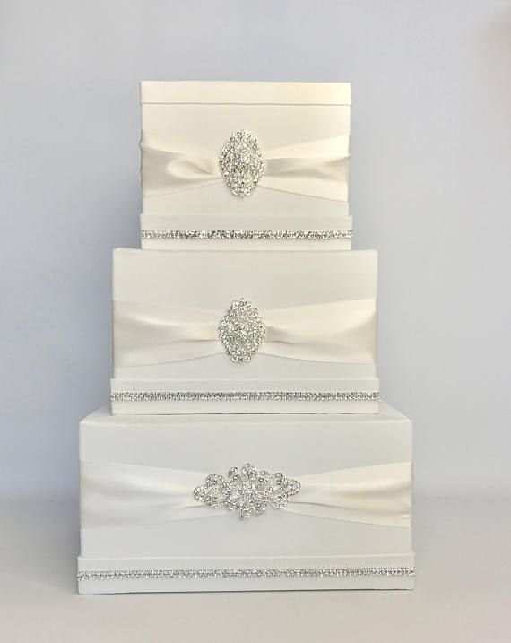Wedding Card Box With Lock Classic Ivory Or White Classic Etsy In 2020 Card Box Wedding Money Box Wedding Personalized Wedding Card Holder
