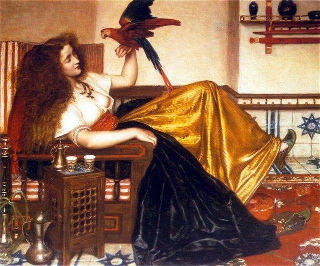 Valentine Cameron Prinsep : Femme Allongée avec un Perroquet