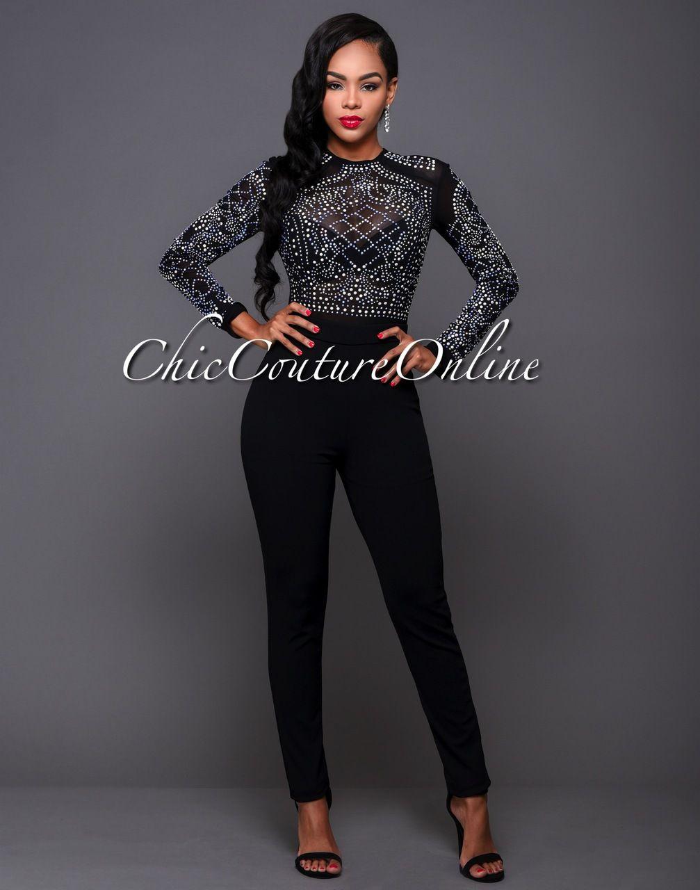 Lace bodysuit high neck  Chic Couture Online  After Party Black Iridescent Stones Jumpsuit