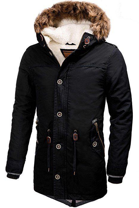 INDICODE Hommes Veste chaude Lined Parka d hiver à Capuchon De Veste De  Manteaux Transition Jacket Mens Outdoor Jacket Veste d hiver Fourrure Veste  à ... 3d5138ac81b