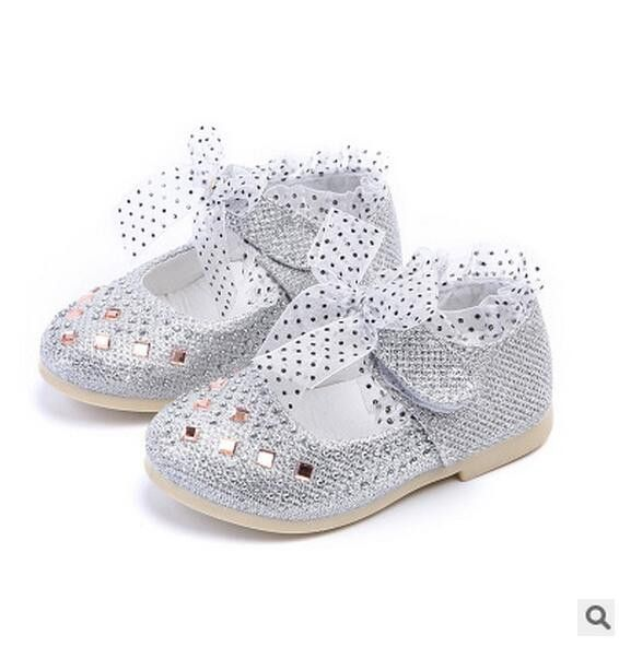 59d0fc120049 Children shoes girls Rhinestone lace Princess Single Girls Shoes for Girls  Party Wedding pink Silver sneakers toddler shoes