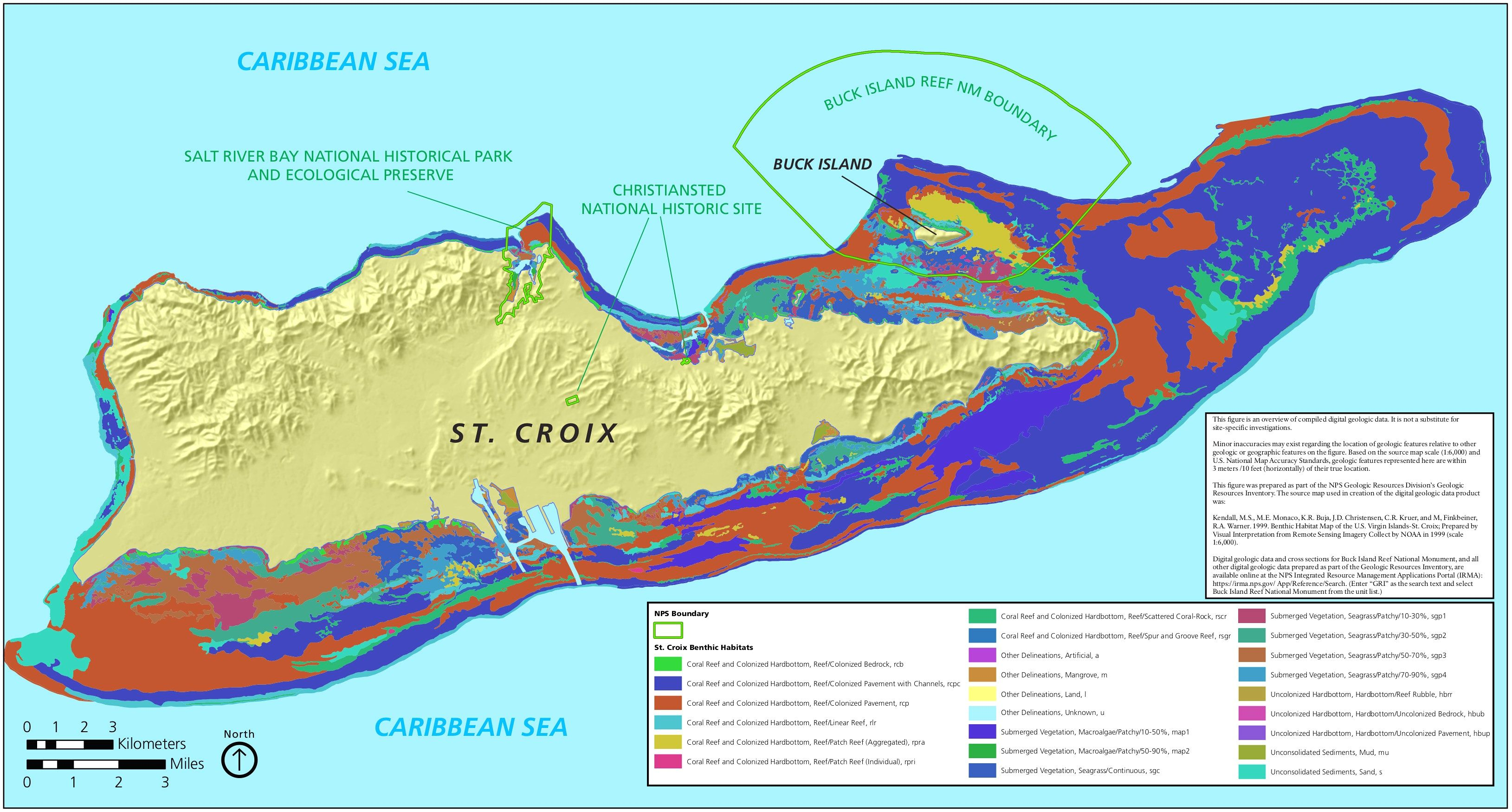 Map of St. Croix coral, reef and underwater vegetation ...