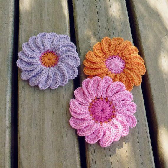 PDF Crochet Flower Pattern 3D Gerbera Easy beginner by Soles ...