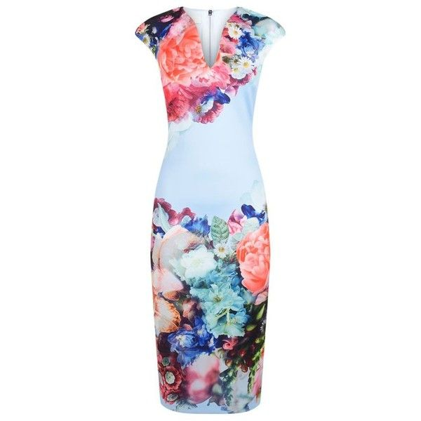 Ted Baker Brynee Floral Neoprene Dress ($210) ❤ liked on Polyvore featuring dresses, blue floral dresses, ted baker dresses, slip dresses, holiday dresses and midi dress