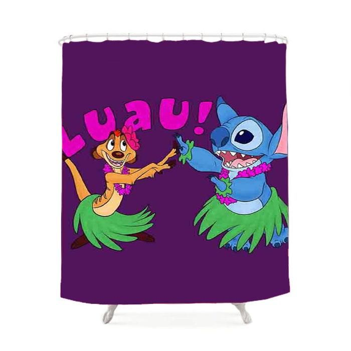 Luau Timon Silhouette And Stitch Disney Shower Curtain Disney Shower Curtain Stitch Disney