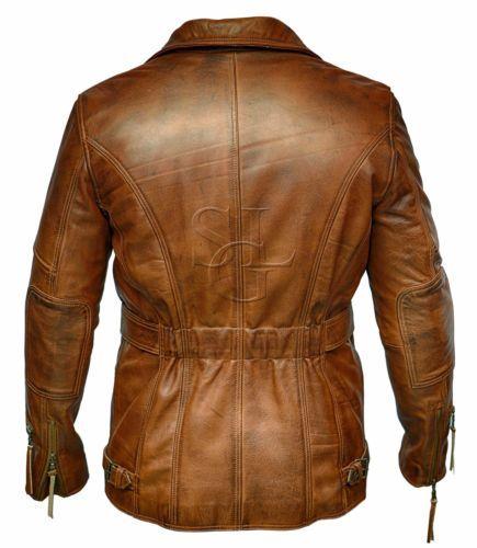 d tails sur homme 3 4 moto motard marron vieilli vintage. Black Bedroom Furniture Sets. Home Design Ideas