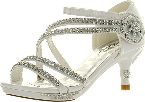 d93d04517 JJF Shoes Glamour-28 Kids White Rhinestone Flower Sparkling Bling Heel  designed Dress Sandals-3     Be sure to check out this awesome product.