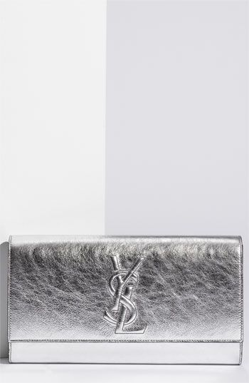 Yves Saint Laurent 'Belle de Jour' Metallic Envelope Clutch available at #Nordstrom