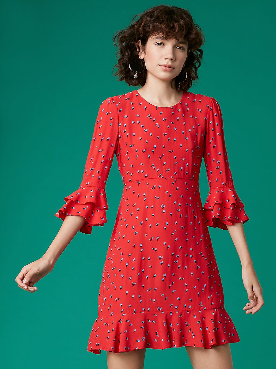 c8482b9d137 Long Sleeve Ruffle Cuff Dress in Rose Bud Candy Red