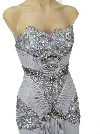 Silver Beaded Wedding Dress