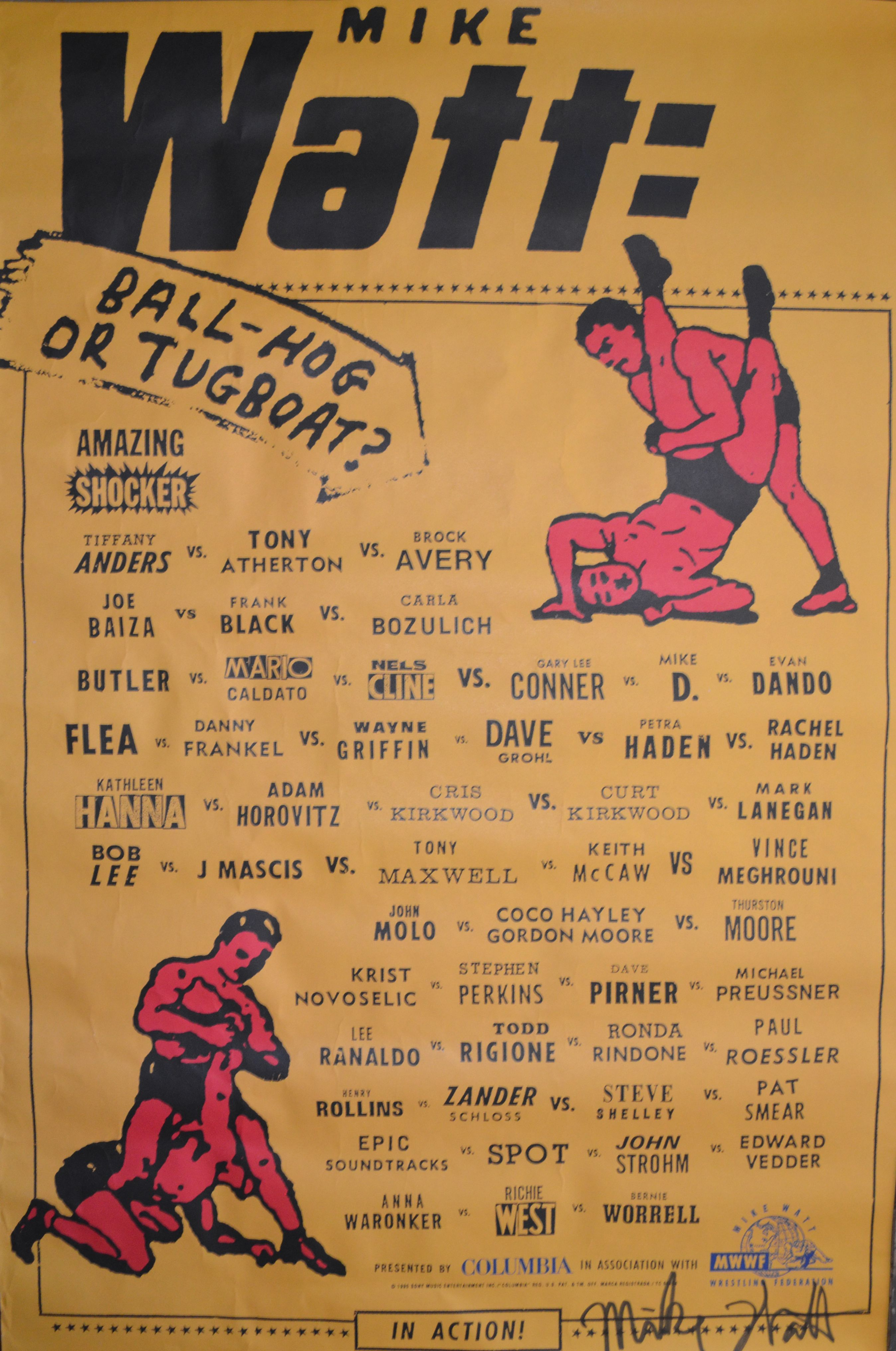 Signed Mike Watt Ball Hog Or Tugboat Poster Who S Who Of