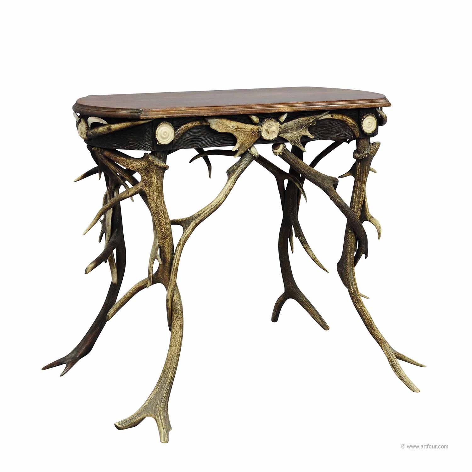 A Small Antler Side Table With Great Decorations Ca 1890