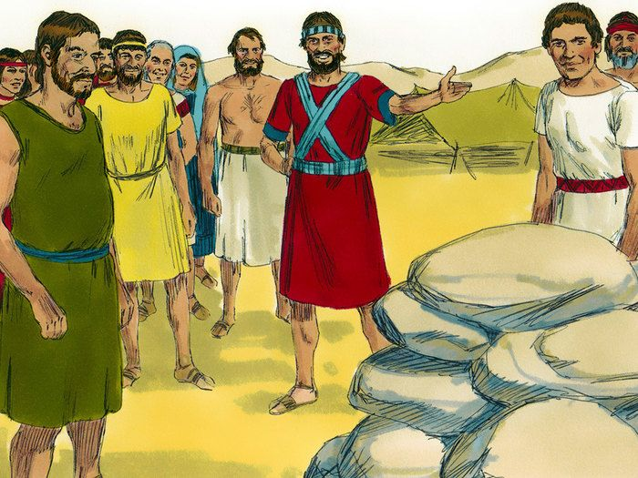 Free Bible illustrations at Free Bible images of Joshua asking the priests, carrying the Ark of the Covenant, to enter the flooded River Jordan and the miraculous crossing that followed. (Joshua 3:1 - 4:24): Slide 7