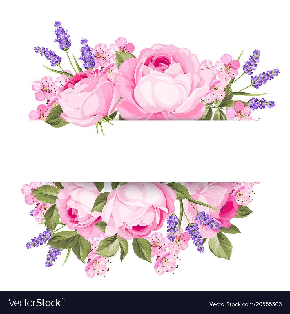 Blooming Spring Flowers Garland Vector Image On Em 2020 Com