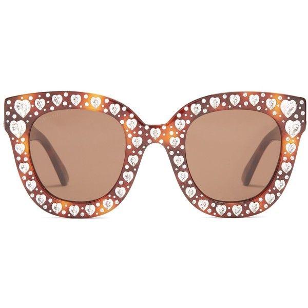 heart shaped embellished sunglasses - Brown Gucci wmSJn3TbZH