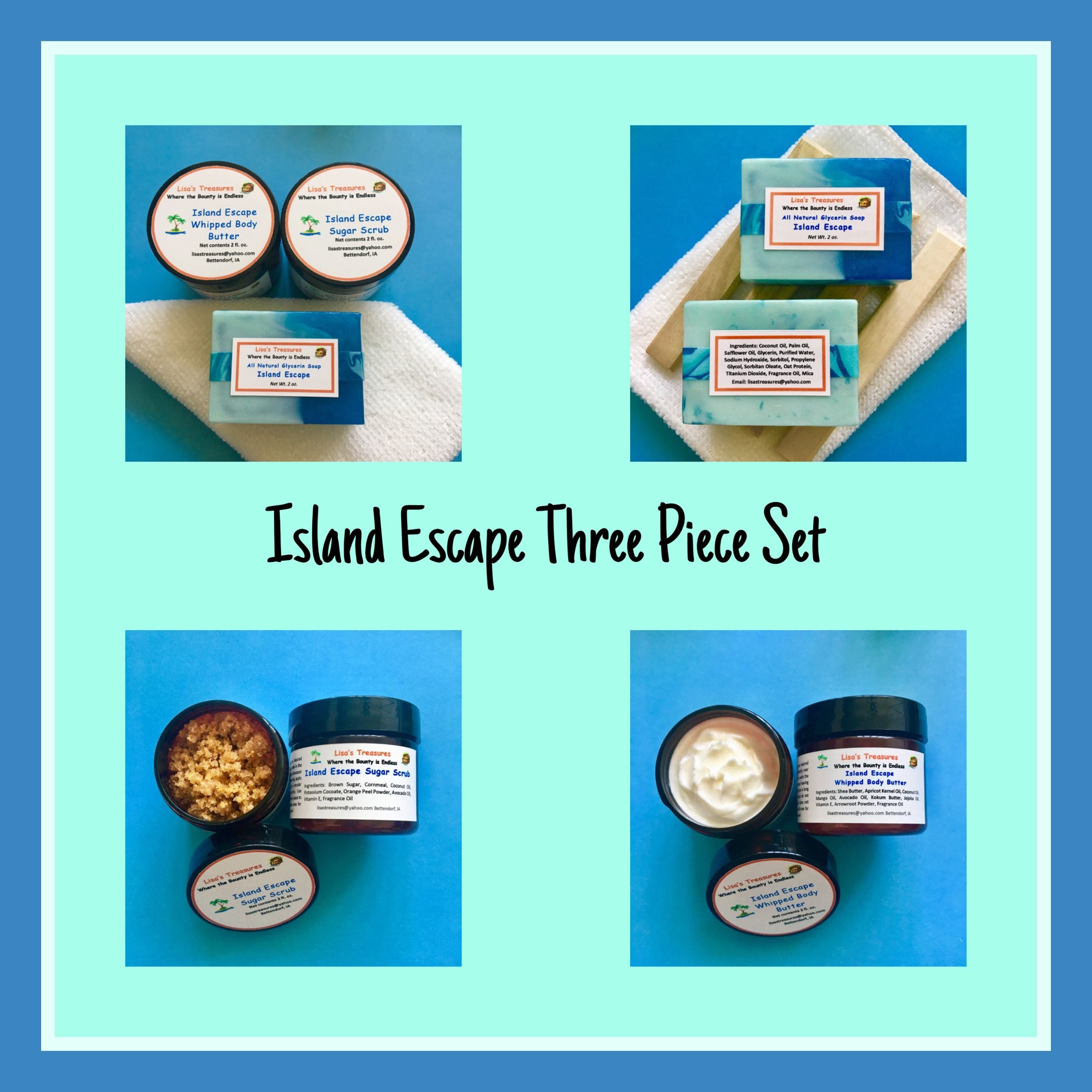 Check out my limited addition Island Escape three-piece set. No time ...