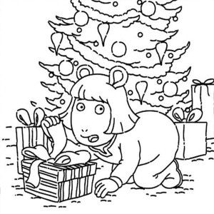 arthur dw read open the present secretly in arthur coloring page
