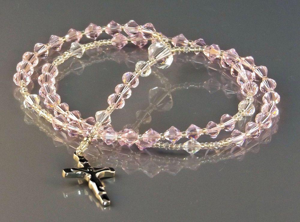 Swarovski Crystals Baby Rosary Beads Handmade Christening Gift NEW