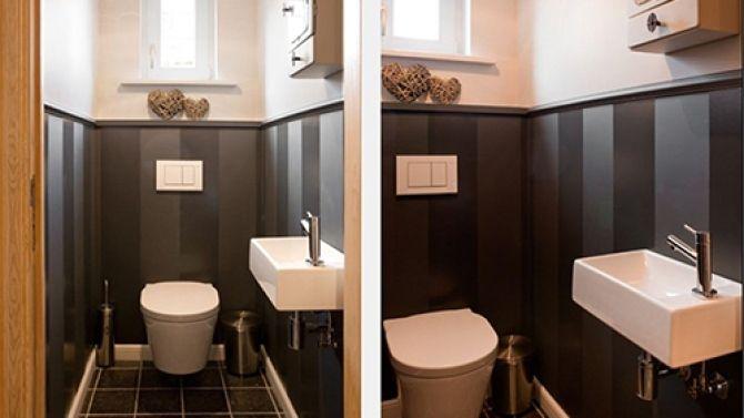Petit Wc Blanc Noir Et Gris Repeindre Toilettes Idee Deco Toilettes Repeindre Carrelage