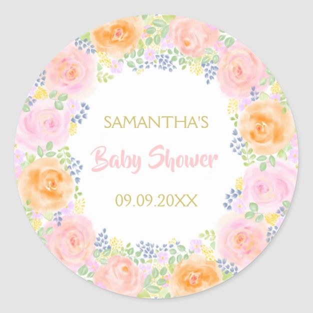 Baby Shower Pink Roses Watercolor Floral Girly Classic Round Sticker | Zazzle.com images