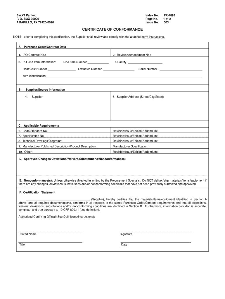Certificate Of Conformance Template Fill Online Printable In