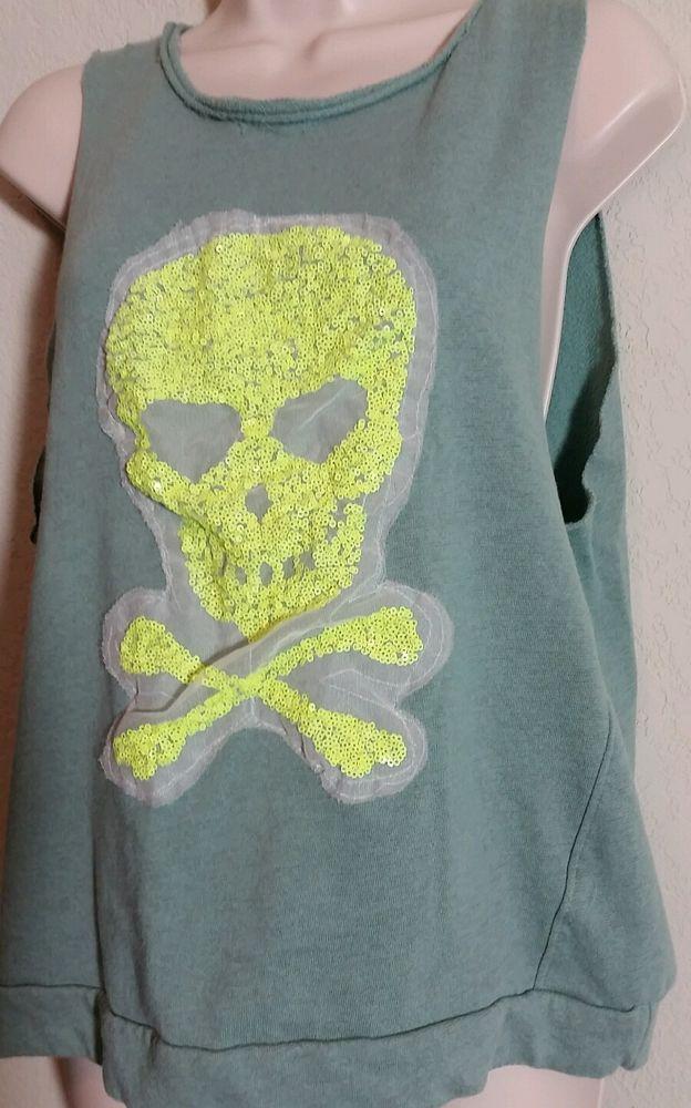 Green Sleeveless Sweatshirt with Fluorescent Beaded Skull Embellishment Sz M EUC #Unknown #KnitTop