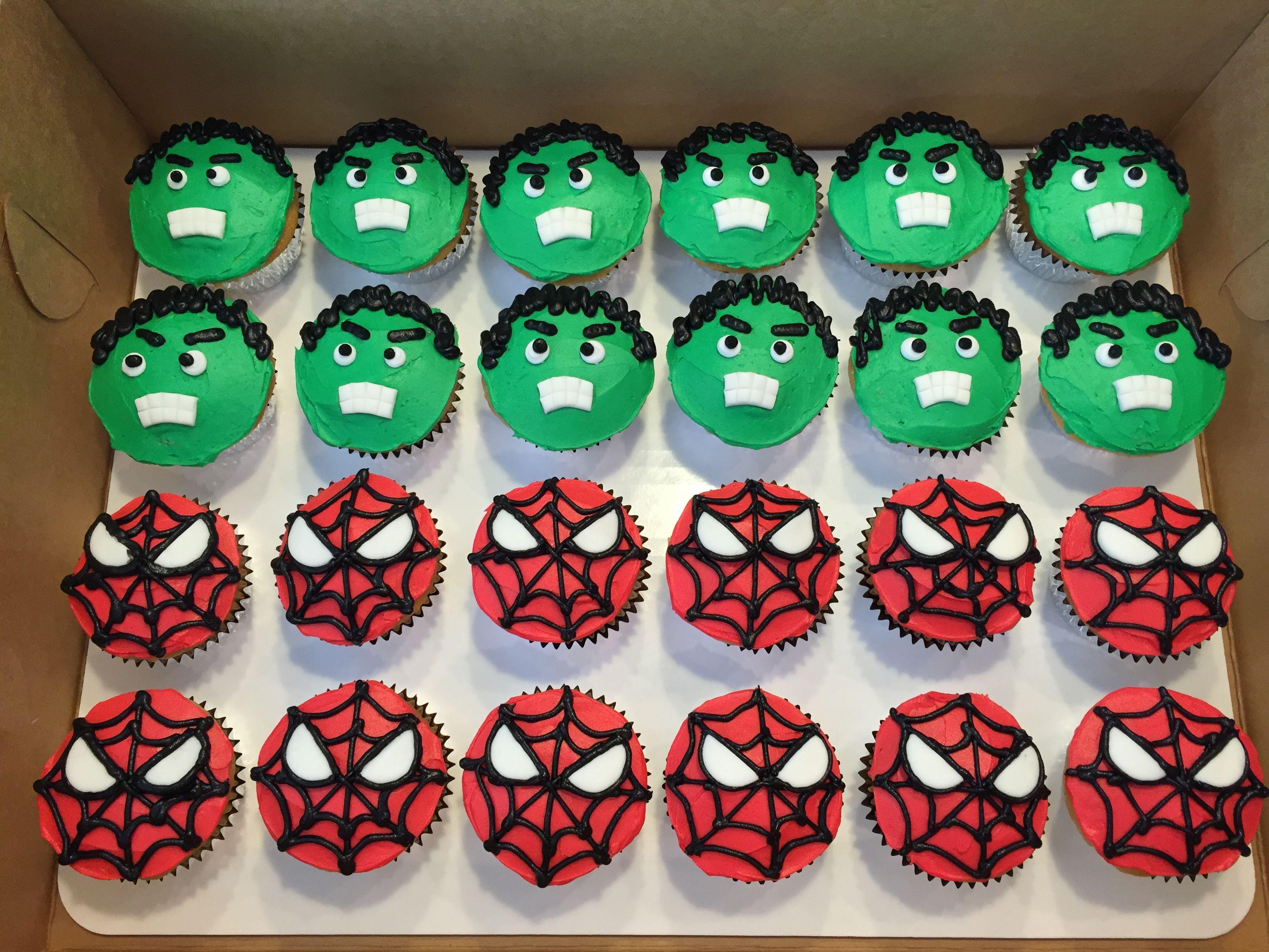 Hulk Spiderman cupcakes Superhero Pinterest Hulk spiderman