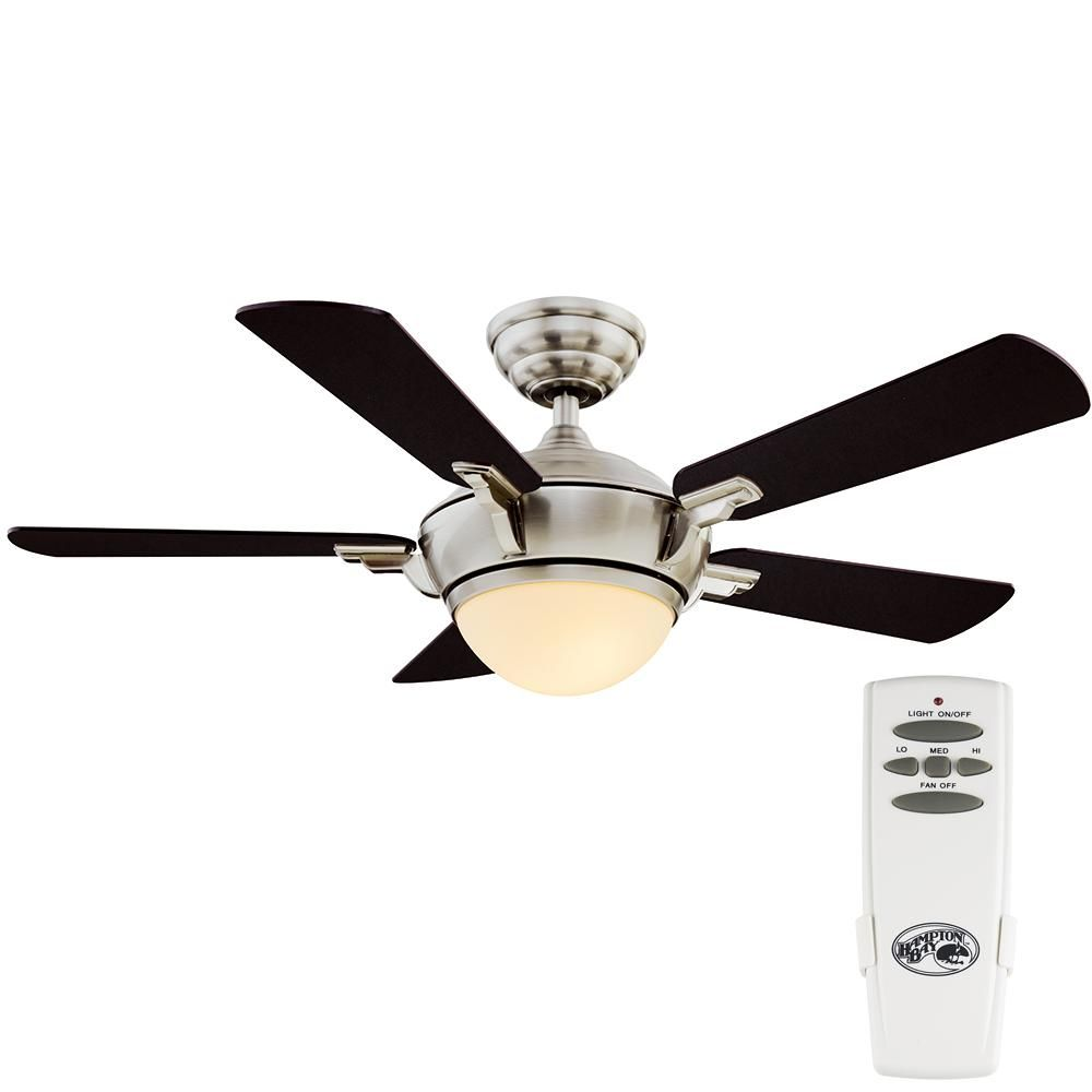 Hampton Bay Midili 44 In Indoor Led Brushed Nickel Dry Rated Ceiling Fan With 5 Reversible Blades Light Kit And Remote Control 68044 The Home Depot Ceiling Fan With Light Brushed