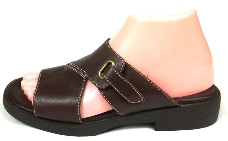 3016e76b0b0e3e Liz Claiborne Villager Sandals Womens 7.5 M Solid Brown Leather Slide On  Shoes  LizClaiborne  Slides  Casual