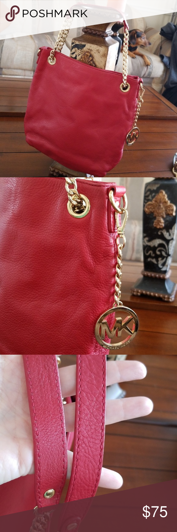 💋 MICHAEL KORS RED BAG Beautiful apple red leather bag. Can use as shoulder bag or place the longer...
