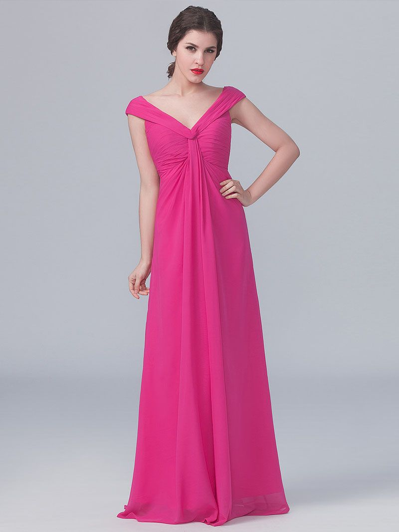 Cap #Sleeves Floor Length #Long Magenta #Chiffon Special Occasion ...