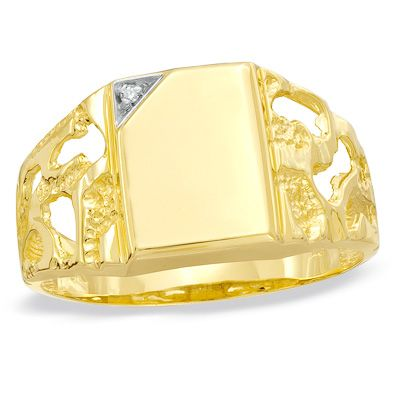 Men S Diamond Accent Rectangle Signet Nugget Ring In 10k Gold