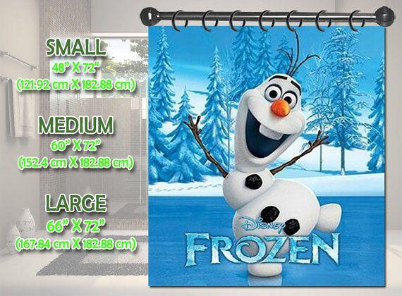 New Disney Frozen Olaf Snowman Shower Curtain Bath Bathroom Size Small 48 X 72 Medium 60 Large 66