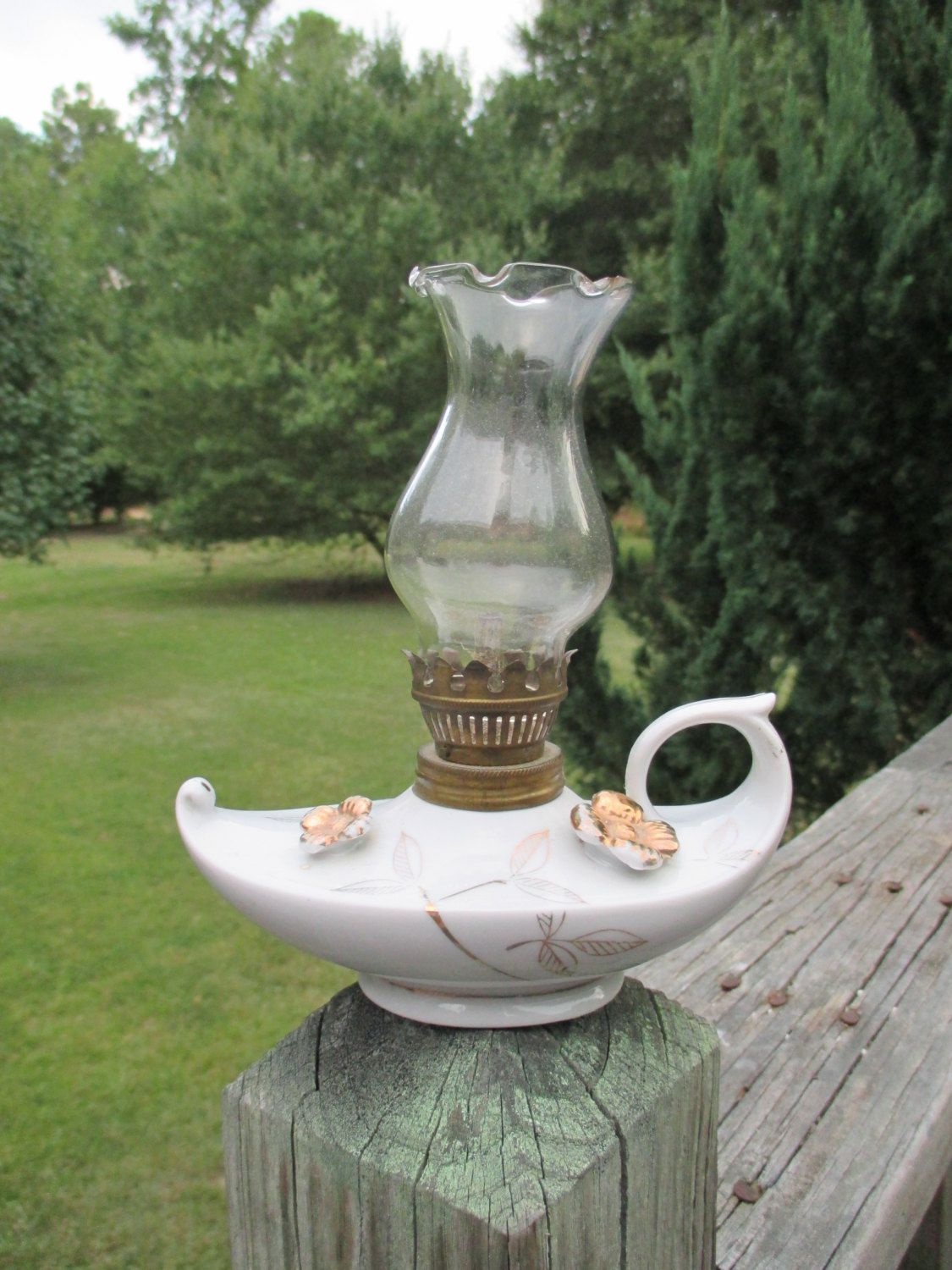 Vintage White Ceramic Oil LampGlass ShadeMade in Japan