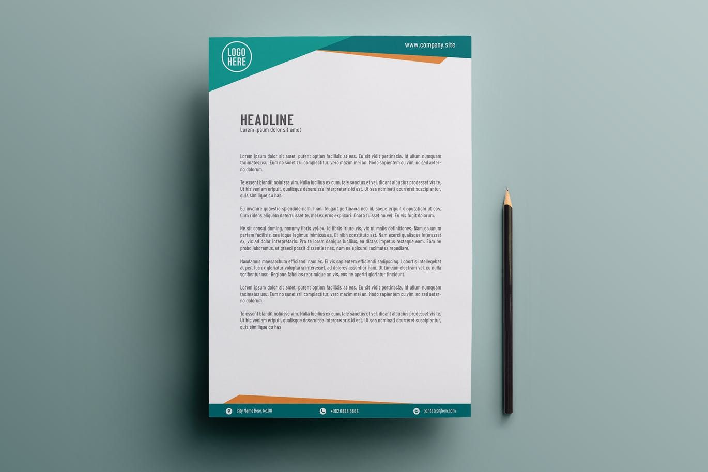Elegant Turquoise Letterhead Template Ai Eps A4 Letterhead