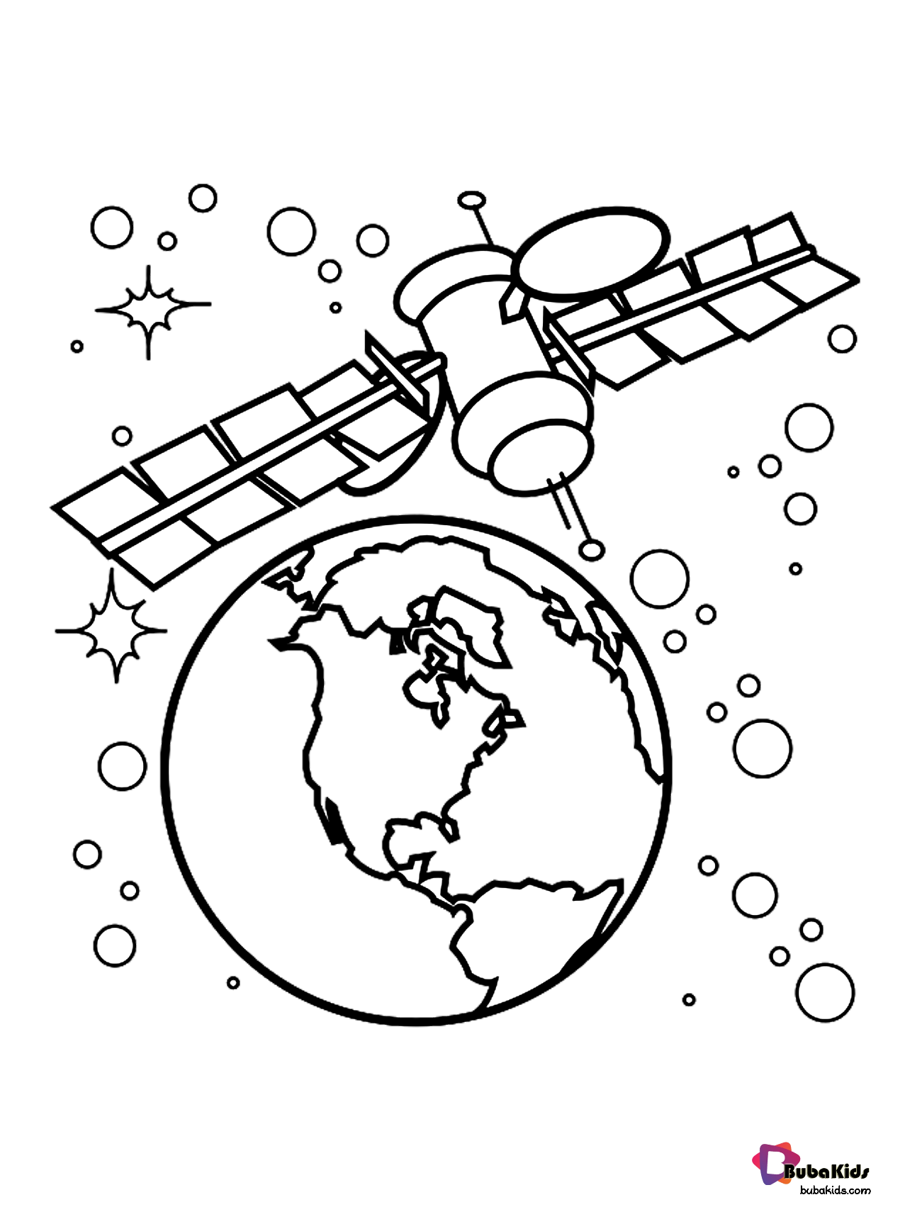 Outer Space Satellite Orbiting Earth Coloring Page Free
