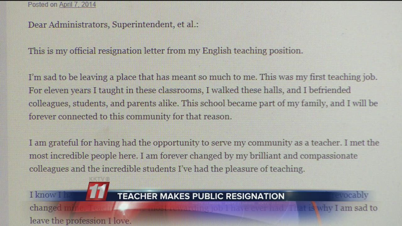 Teacher Makes Resignation Letter Public Teacher Makes