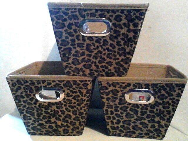 Interiors By Design 3 Piece Leopard Animal Print Fabric Storage Bin Home Decor Interiorsbydesign Leopa Fabric Storage Bins Fabric Storage Animal Print Fabric